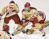 Matt Carle, Andrew Thomas, Peter Mannino - The Ferris State Bulldogs defeated the University of Denver Pioneers 3-2 in the Denver Cup consolation game on Saturday, December 31, 2005, at Magness Arena in Denver, Colorado.