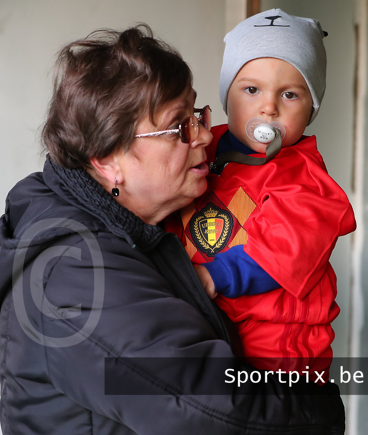 20191008 CLUJ NAPOCA:Romanian player escort with Belgian shirt is pictured before the match between Belgium Women's National Team and Romania Women's National Team as part of EURO 2021 Qualifiers on 8th of October 2019 at CFR Stadium, Cluj Napoca, Romania. PHOTO SPORTPIX | SEVIL OKTEM