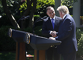 US President Donald J. Trump (R) with Polish President Andrzej Duda (L) during a joint press conference in the Rose Garden of the White House in Washington, DC, USA, 12 June 2019. Earlier President Trump and President Duda signed an agreement to increase military to military cooperation including the purchase of F-35 fighter jets by Poland and an increased US troop presence in Poland. <br /> Credit: Shawn Thew / Pool via CNP