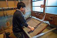 Japan, Okayama Prefecture, Kurashiki. Third generation papermaker, he learned from his grandfather. Uses the mitsumata plant. MR