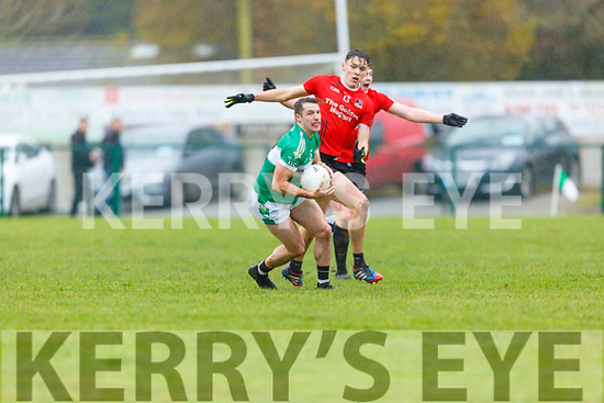 David Clifford Fossa is shocked as Damien O'Sullivan  Legion nips in to steal the ball during the East Kerry QF in Direen on Sunday