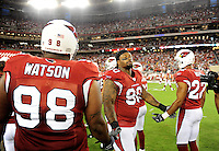 Aug. 28, 2009; Glendale, AZ, USA; Arizona Cardinals defensive tackle (90) Darnell Dockett prior to the game against the Green Bay Packers during a preseason game at University of Phoenix Stadium. Mandatory Credit: Mark J. Rebilas-