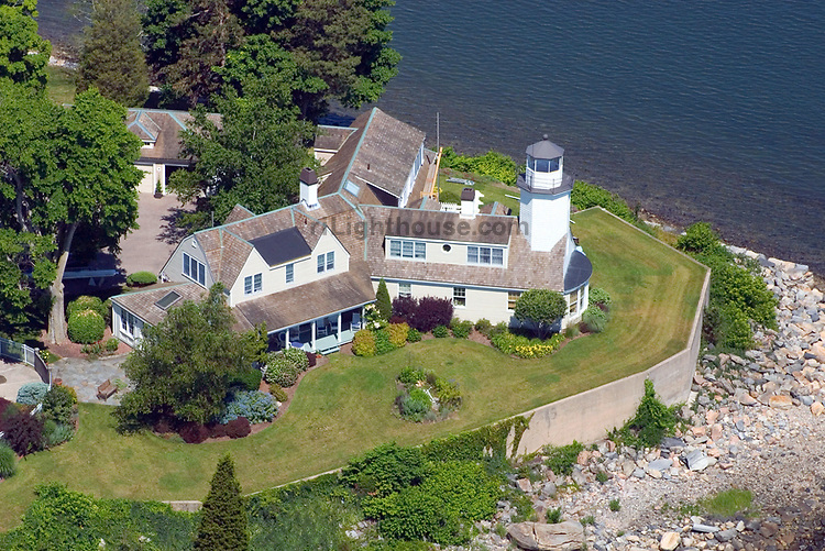 An aerial view of Poplar Point Lighthouse in Wickford, Rhode Island