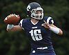 Ryan Walsh #16, Northport quarterback, throws a pass for a long gain and a first down during the second quarter of a Suffolk County Division I varsity football game against Lindenhurst at Glenn High School on Saturday, Sept. 2, 2017.