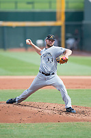Salt River Rafters starting pitcher Adrian Houser (33), of the Milwaukee Brewers organization, delivers a pitch to the plate during a game against the Mesa Solar Sox on October 18, 2017 at Sloan Park in Mesa, Arizona. The Rafters defeated the Solar Sox 6-5. (Zachary Lucy/Four Seam Images)