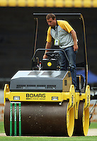 A groundsman rolls the pitch before the match during 2nd Twenty20 cricket match match between New Zealand Black Caps and West Indies at Westpac Stadium, Wellington, New Zealand on Friday, 27 February 2009. Photo: Dave Lintott / lintottphoto.co.nz