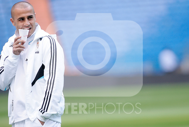 Real Madrid's Fabio Cannavaro before La Liga match. May 24, 2009. (ALTERPHOTOS/Alvaro Hernandez)