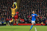 27th November 2019; Anfield, Liverpool, Merseyside, England; UEFA Champions League Football, Liverpool versus SSC Napoli ; SSC Napoli goalkeeper Alex Meret claims a cross under pressure from Sadio Mane of Liverpool  - Editorial Use
