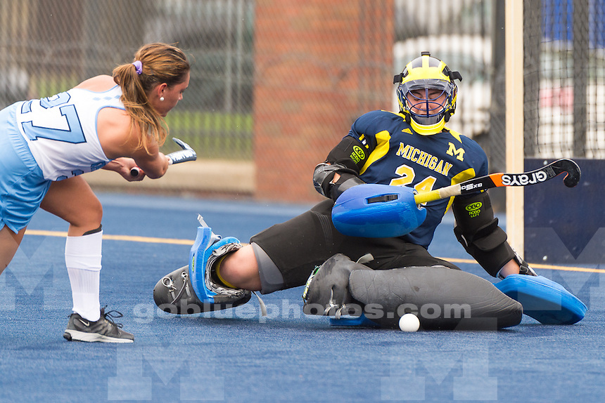The University of Michigan women's field hockey team, 2-1, loss to UNC in game one of the 2015 ACC/Big Ten Challenge at Phyllis Ocker Field in Ann Arbor,MI. on Aug. 29 2015.