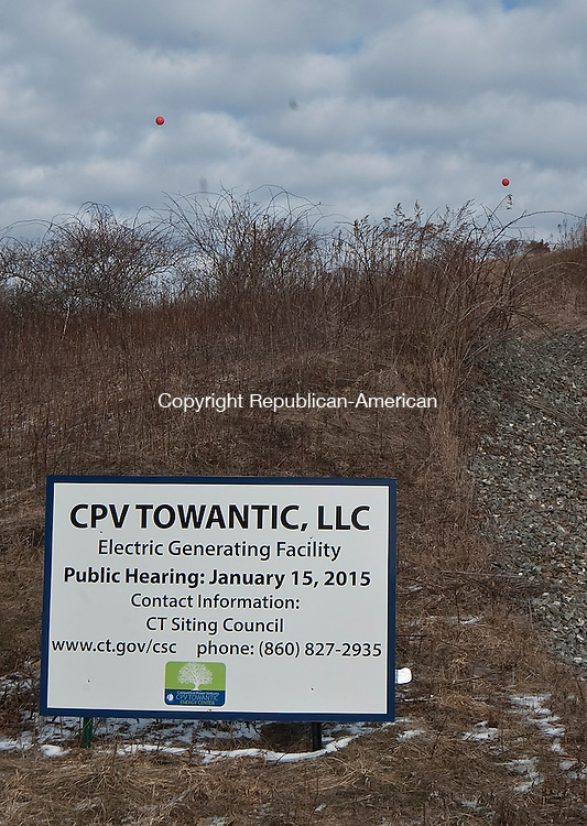 OXFORD,  CT-011415JS03- A pair of balloons fly to show the height of the stacks during a field review by members of the Siting Council at the proposed site for the CPV Towantic Energy Center in Oxford on Thursday. <br />  Jim Shannon Republican-American
