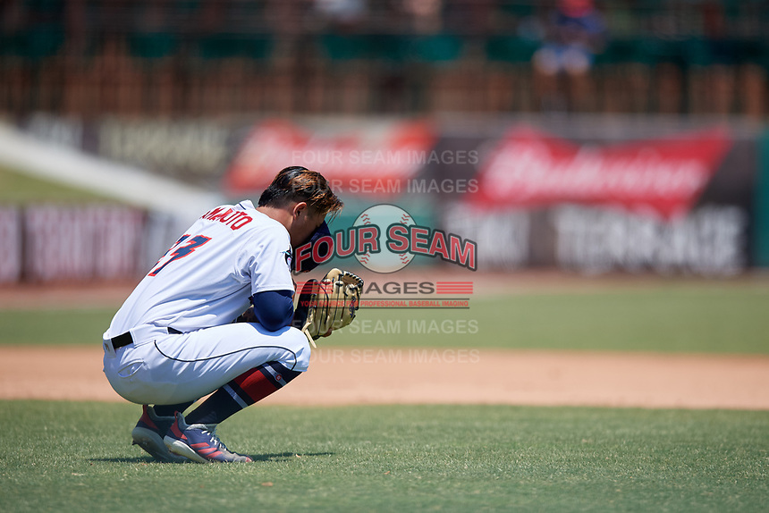 Jacksonville Jumbo Shrimp starting pitcher Jordan Yamamoto (23) before taking the mound during a Southern League game against the Tennessee Smokies on April 29, 2019 at Baseball Grounds of Jacksonville in Jacksonville, Florida.  Tennessee defeated Jacksonville 4-1.  (Mike Janes/Four Seam Images)