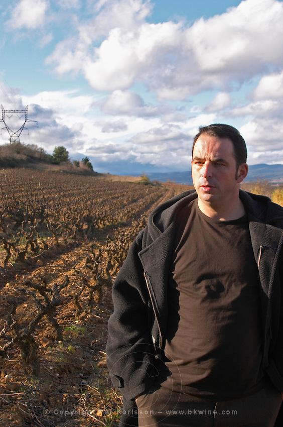 Jean-Baptiste Senat Domaine Jean Baptiste Senat. In Trausse. Minervois. Languedoc. Owner winemaker. France. Europe. Vineyard.