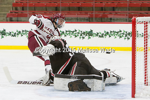 Jimmy Vesey (Harvard - 19), Tim Ernst (Brown - 33) - The Harvard University Crimson defeated the Brown University Bears 4-3 to sweep their first round match up in the ECAC playoffs on Saturday, March 7, 2015, at Bright-Landry Hockey Center in Cambridge, Massachusetts.