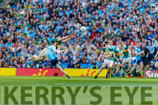 Diarmuid Connolly, Dublin in action against Paul Geaney, Kerry during the GAA Football All-Ireland Senior Championship Final match between Kerry and Dublin at Croke Park in Dublin on Sunday.