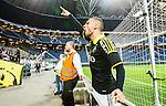 Solna 2015-04-26 Fotboll Allsvenskan AIK - &Ouml;rebro SK :  <br /> AIK:s Panajotis Dimitriadis sjunger med AIK:s supportrar efter matchen mellan AIK och &Ouml;rebro SK <br /> (Foto: Kenta J&ouml;nsson) Nyckelord:  AIK Gnaget Friends Arena Allsvenskan &Ouml;rebro &Ouml;SK jubel gl&auml;dje lycka glad happy glad gl&auml;dje lycka leende ler le supporter fans publik supporters
