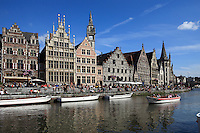 Belgium, Oost Vlaanderen, Ghent: Canal tour and buildings along the Graslei