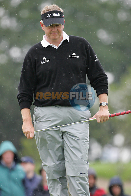 Colin Montgomerie lines up his putt on the par 4 5th hole during the first round of the Smurfit Kappa European Open at The K Club, Strffan,Co.Kildare, Ireland 5th July 2007 (Photo by Eoin Clarke/NEWSFILE)