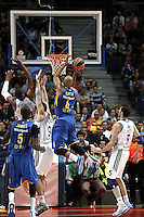 (L-R) Real Madrid's Marcus Slaughter, Felipe Reyes, Rudy Fernandez  and Maccabi's James Smith during Euroliga quarter final match. April 10,2013.(ALTERPHOTOS/Alconada) /NortePhoto