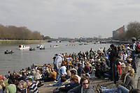 London, GREAT BRITAIN,  Crowds on 'Putney Hard', waiting for the start of the 2007 Boat Race on  Sat. April 7th. England [Photo Peter Spurrier/Intersport Images] Varsity Boat Race, Rowing Course: River Thames, Championship course, Putney to Mortlake 4.25 Miles,