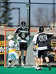 3 April 2010: Binghamton University Bearcats' Defenseman Ben Waldron, a Sophomore from Camillus, NY, in action against the University of Vermont Catamounts at Moulton Winder Field in Burlington, Vermont. The Catamounts defeated the visiting Bearcats 11-8 in Vermont's opening home game of the 2010 season. Mandatory Credit: Ed Wolfstein Photo