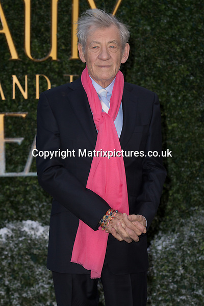 NON EXCLUSIVE PICTURE: MAZZ / MATRIXPICTURES.CO.UK<br /> PLEASE CREDIT ALL USES<br /> <br /> WORLD RIGHTS<br /> <br /> English actor Sir Ian Mckellen attends the Beauty And The Beast Launch Event held at Spencer House in London.<br /> <br /> FEBRUARY 23rd 2017<br /> <br /> REF: MIS 17409