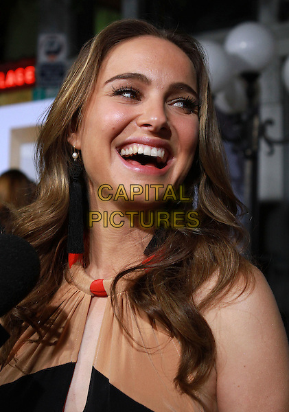 "NATALIE PORTMAN.""No Strings Attached"" Los Angeles Premiere held At The Regency Village Theatre, Westwood, CA, USA..January 11th, 2010.headshot portrait black red cream beige mouth open smiling.CAP/ADM/KB.©Kevan Brooks/AdMedia/Capital Pictures."