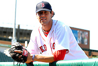 Lowell Spinners RHP ANTHONY RANAUDO prior to a game  vs. the Staten Island Yankees at LaLacheur Park in Lowell, Massachusetts on August 28, 2010.Anthony was drafted by the Boston Red Sox in the supplemental 1st round of the 2010 draft out of LSU.    Photo By Ken Babbitt/Four Seam Images