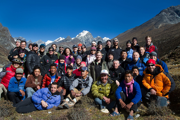 The entire Soldiers to the Summit team including soldiers, Everest climbers, trekkers, porters, and sherpas. Photo by Didrik Johnck