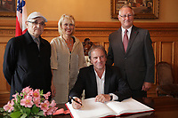 August 27 2012 - Montreal (Qc) CANADA - <br /> The jury of the 2012 World Film Festival at  Montreal City hall.<br /> Serge Losique,Helen Foutopoulos<br /> and Gerald Tremblay, Mayor of Montreal stand behind  Michel Cote.<br /> <br /> <br /> The World Films Festival 35th edition run til September 2012.<br /> <br /> <br />  File Photo Agence Quebec Presse - Pierre Roussel