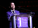Carlo Alban on stage at the 73rd Annual Theatre World Awards at The Imperial Theatre on June 5, 2017 in New York City.