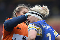 Picture by Anna Gowthorpe/SWpix.com - 15/04/2018 - Rugby League - Womens Super League - Bradford Bulls v Leeds Rhinos - Coral Windows Stadium, Bradford, England - Leeds Rhinos' Charlotte Booth is treated for a head injury