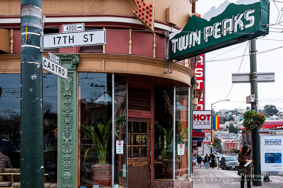 United States, California, San Francisco. The Castro is one of the United States' first and best-known gay neighborhoods. The famous Twin Peaks bar.