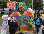 Arm-of-the-Sea Theater's  parade through the festival grounds, at the 27th Annual Hudson Valley Garlic Festival, held in Cantine Memorial Field, in Saugerties, NY, on Saturday, October 1, 2016. Photo by Jim Peppler; Copyright Jim Peppler 2016.