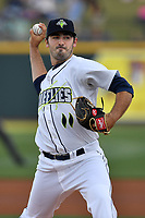 Starting pitcher Colin Holderman (11) of the Columbia Fireflies in a game against the Lexington Legends on Saturday, April 22, 2017, at Spirit Communications Park in Columbia, South Carolina. Lexington won, 4-0. (Tom Priddy/Four Seam Images)