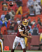 Landover, MD - November 30, 2008 -- Washington Redskins quarterback Jason Campbell (17) delivers a fourth quarter pass against the New York Giants at FedEx Field in Landover, Maryland on Sunday, November 30, 2008.  The Giants won the game 23 - 7..Credit: Ron Sachs / CNP.(RESTRICTION: No New York Metro or other Newspapers within a 75 mile radius of New York City)