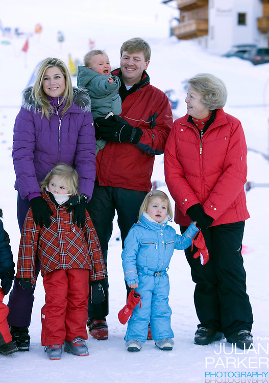Queen Beatrix of Holland, Crown Prince Willem Alexander, and Crown Princess Maxima of Holland with Daughters, Princess Alexia, Princess Catharina Amalia and Princess Ariane a Photocall with Members of The Dutch Royal Family during their Winter Ski Holiday in Lech Austria
