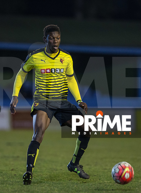 Bernard Mensah of Watford in action during the U21 Professional Development League match between Watford U21 and Crystal Palace U21 at Clarence Park, St Albans, England on 14 March 2016. (Watford 0 Crystal Palace 5). Photo by Andy Rowland.