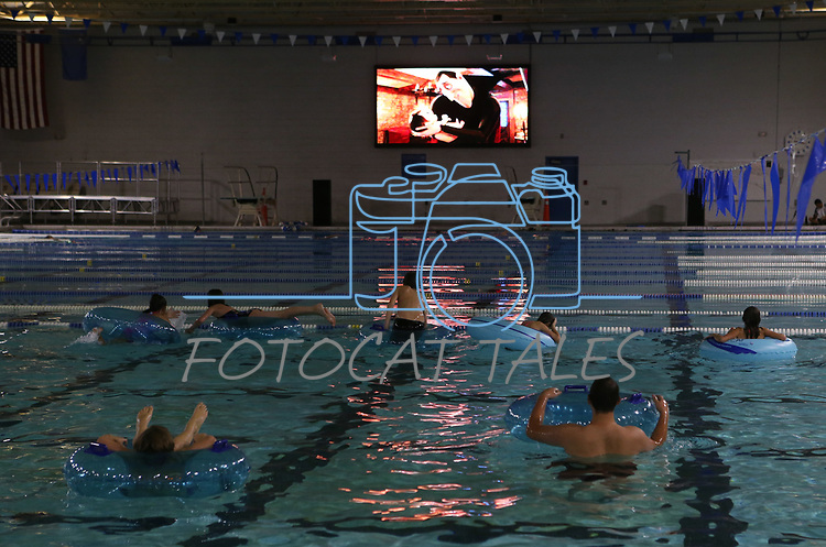 Kids watch a dive-in movie during the Carson City Boo-nanza on Wednesday, Oct. 25, 2017. Co-hosted by Carson City Parks and Recreation, the Carson City Library and the Carson City Aquatics Facility, the Halloween event includes trick-or-treating, a haunted house, games and crafts.<br /> Photo by Cathleen Allison/Nevada Momentum