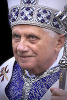 Pope Benedict XVI arrives to celebrate a Mass in memory of the late Pope John Paul II on the second anniversary of his death, at St. Peter's Basilica at the Vatican, Monday, April 2, 2007.