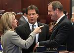 Nevada Sen. Barbara Cegavske, R-Las Vegas, Lt. Gov. Brian Krolicki and Sen. John Lee, D-North Las Vegas, talk on the Senate floor Tuesday, May 10, 2011, at the Legislature in Carson City, Nev..Photo by Cathleen Allison