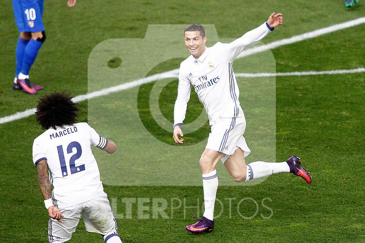 Real Madrid's Cristiano Ronaldo (r) and Marcelo Vieira celebrate goal during La Liga match. November 19,2016. (ALTERPHOTOS/Acero)