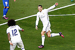 Real Madrid's Cristiano Ronaldo (r) and Marcelo Vieira celebrate goal during La Liga match. November 19,2016. (ALTERPHOTOS/Acero)