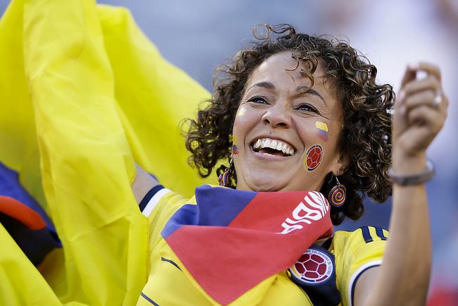 Hincha celebra en el partido de cuartos de final entre Colombia y Per&uacute; en la Copa Am&eacute;rica Centenario USA 2016 en el MetLife Stadium en East Rutherford, California, el 17 de junio de 2016.<br /> Foto: Archivolatino<br /> <br /> COPYRIGHT: Archivolatino/Alejandro Sanchez<br /> Prohibida su venta y su uso comercial.