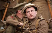 Men in World War I gear in Oxford Street, Swansea, south Wales UK. Friday 01 July 2016