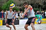 (L to R) Katsuhiro Shiratori, (JPN), Kentaro Asahi (JPN),.MAY 4, 2012 - Beach Volleyball : JBV Tour 2012 Sports Club NAS Open at Odaiba Beach, Tokyo, Japan. (Photo by Jun Tsukida/AFLO SPORT) [0003].