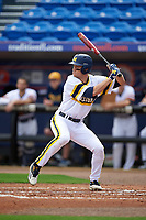 Michigan Wolverines third baseman Jake Bivens (18) at bat during the first game of a doubleheader against the Canisius College Golden Griffins on June 20, 2016 at Tradition Field in St. Lucie, Florida.  Michigan defeated Canisius 6-2.  (Mike Janes/Four Seam Images)