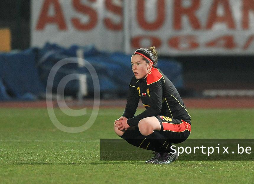 France U19 - Belgium U19 : Elien Van Wynendaele blijft ontgoocheld achter na het 2-0 verlies van Belgie.foto DAVID CATRY / Nikonpro.be