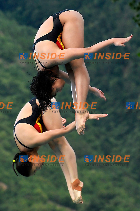 Liu Tian, Luo Ying China <br /> Bolzano 28/6/2013 Piscina Lido<br /> 19th Fina Diving Grand Prix <br /> 3m Sincro Donne - Platform 3m Synchro Women <br /> Tuffi <br /> Foto Andrea Staccioli Insidefoto