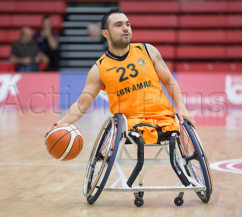 03.07.2016. Leicester Sports Arena, Leicester, England. Continental Clash Wheelchair Basketball Holland versus Australia. Mustafa Korkmaz (NLD) comes up court during the match