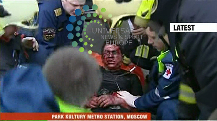 At least 36 people have been killed after two female suicide bombers blew themselves up on Moscow Metro trains in the morning rush hour, officials say. Twenty-four died in the first blast at 0756 (0356 GMT) as a train stood at the central Lubyanka station, beneath the offices of the FSB intelligence agency. About 40 minutes later, a second explosion ripped through a train at Park Kultury, leaving another 12 dead. The FSB said it was likely a group from the North Caucasus was responsible. <br /> Picture  29 March  2010: Universal News and Sport (Europe)RT<br /> All pictures must be credited to  www.universalnewsandsport.com. (0ffice) 0844 884 51 22<br /> (Universal News does not claim any Copyright or License in the attached material. Any downloading fee charged by Universal News and Sport is for Universal News services only. We are advised that screen images should not be used more than 48 hours after the time of original transmission, without the consent of the copyright holder)